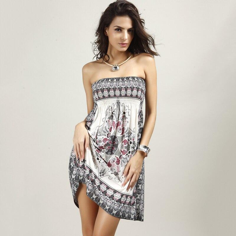 2017 Summer Silk Women Knee Length Dresses Sexy Strapless Backless Bohemian Dress Ethnic Printing Ladies Vestidos