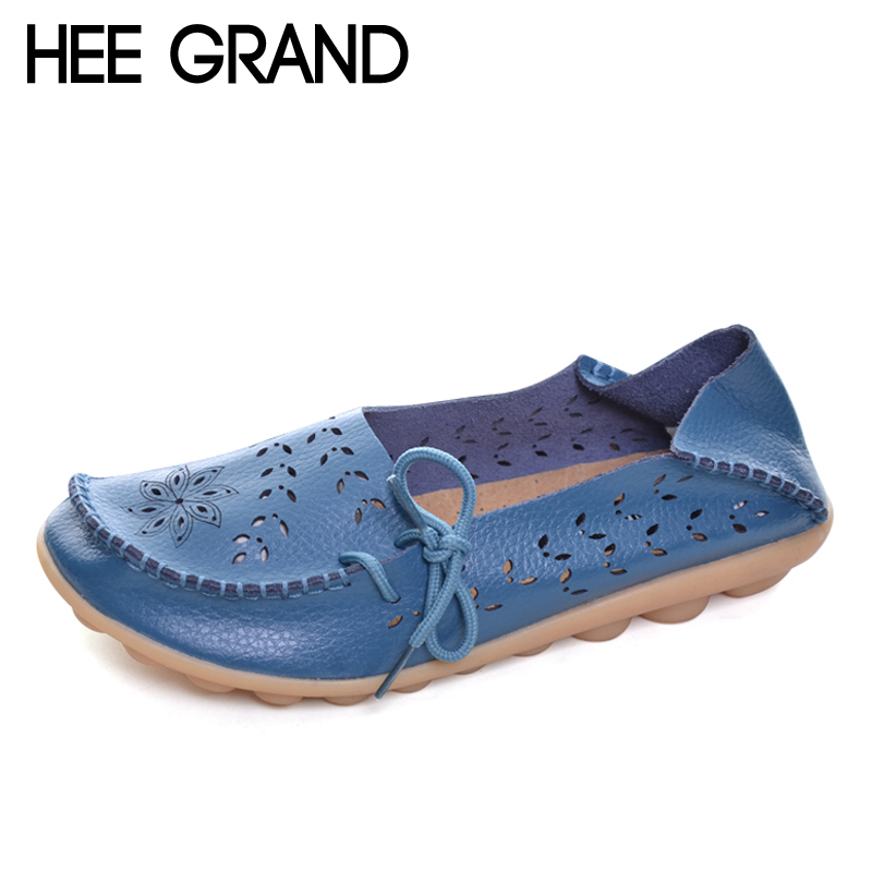 HEE GRAND Loafers Summer Split Leather Casual Platform Shoes Woman Slip On Flats Breathable Women Shoes Size 35-44 XWD3856 akexiya casual women loafers platform breathable slip on flats shoes woman floral lace ladies flat canvas shoes size plus 35 43