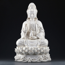 The statue of the Goddess Mercy Ceramic Guanyin Buddha Statues Sculpture Sitting On Lotus White Porcelain