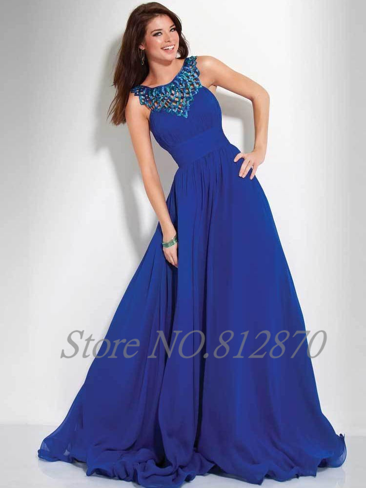 AAED-071 Cheap New Slim Empire A-line Royal Chiffon Long Dresses Lady Blue Party Dress Highwaist Evening Cocktail - iimine store