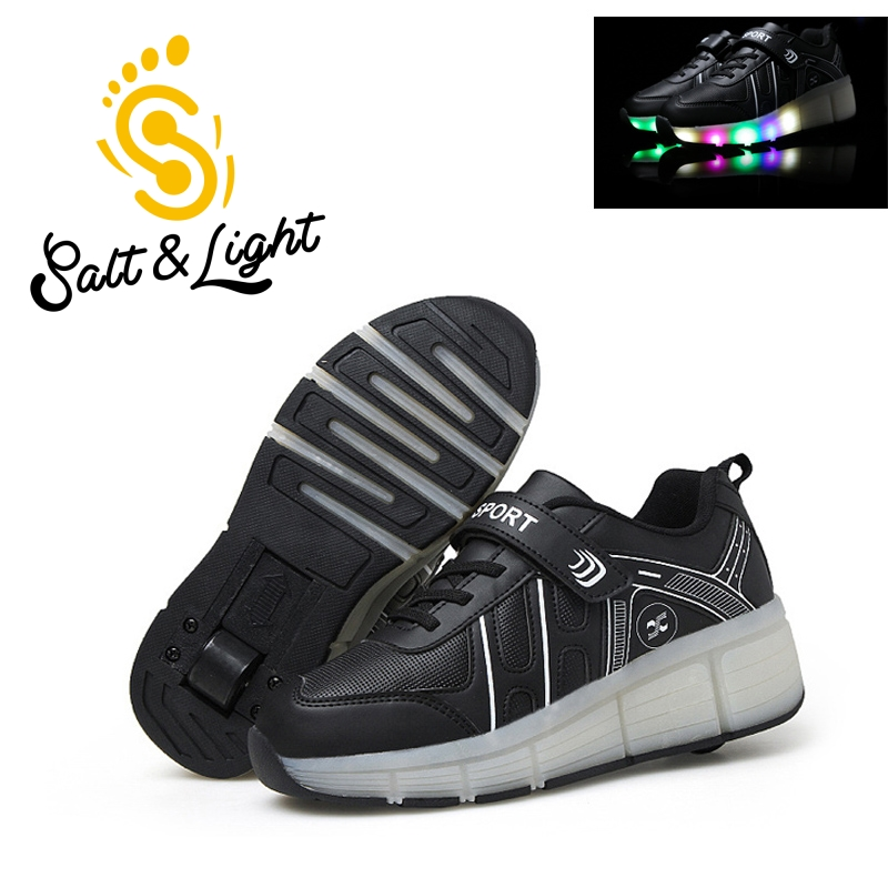 ФОТО Boys girls fashion USB LED sneakers children skates shoes one wheel shine light shoes outdoor sport shoes for kids size28-42