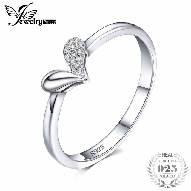JewelryPalace Heart Charm Cubic Zirconia Ring 925 Sterling Silver Wedding Ring B