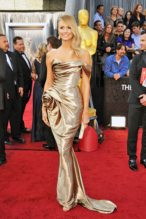 One Shoulder Mermaid Flower Fitted Gold Stacy Keibler 2012 Oscar Dress.jpg