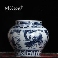 Miisoa Blue and White Porcelain Chinese Ancient Character Home Furnishing Jingdezhen Ceramic Antique Decoration Bottle Vase