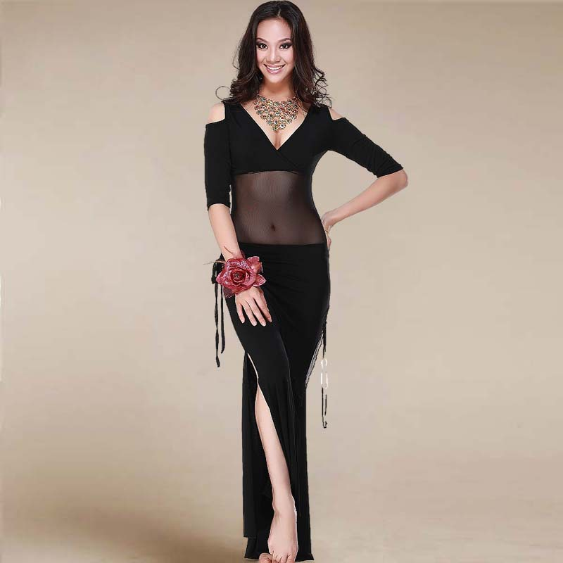 Belly Dance Costume Sexy Short Sleeves Top+milk Silk Waist Pants 2pcs/suit For Belly Dancing Set