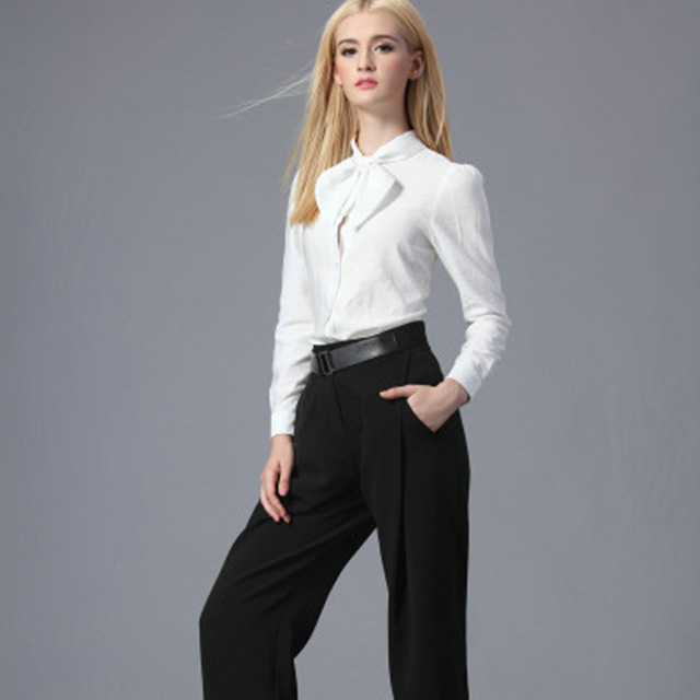 239720a18c30 Long Sleeve White Shirt Black Wide Leg Pants Trousers Women 2 Piece Set Suit  Formal Office Ladies Camisetas Fall Spring A196