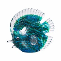 Blue Stripe Tropical Fish Glass Figurine Southeast Asia Art Favor Craft Gift crystal Figurine Home table office Decoration