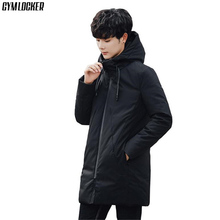 GYMLOCKER 2018 winter new men parka Long section compression Warm windproof coat zipper Hooded mens clothing size M-3XL