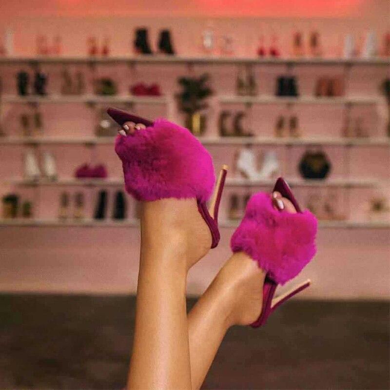 2019 Fur Women's Pumps Heels Shoes High Heel Slippers Women Big Large Size Point
