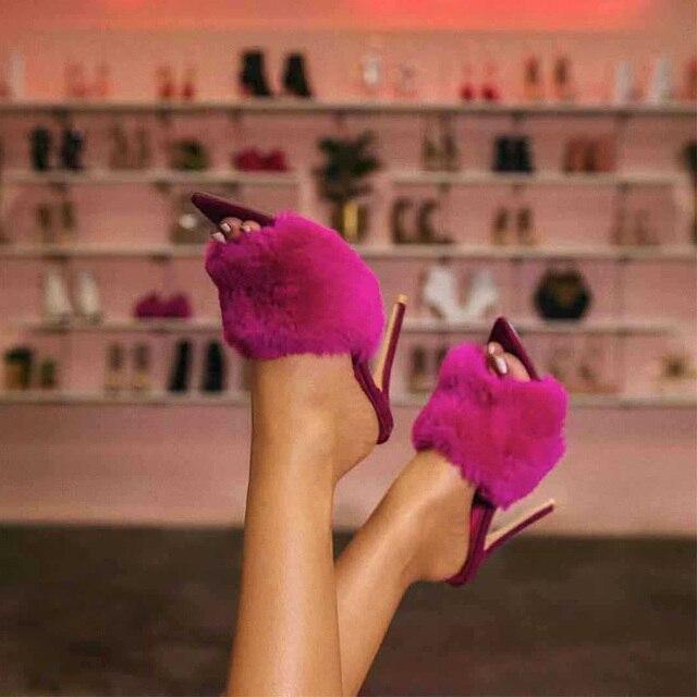 2019 Lông của Phụ Nữ Bơm Gót Giày Cao Gót Dép Đi Trong Nhà Phụ Nữ Big Kích Thước Lớn Phụ Nữ Chân Nhọn Nữ Slide Thời Trang người phụ nữ Giày