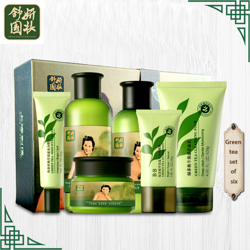 Chinese 6pcs Green Tea Face Care Set Moisturizing Toner Lotion Cleanser Cream Eye Cream Acne Whitening Oil Control Skin Care new arrival red pomegranate cleanser cream lotion smoothing toner skin care beauty set moisturizing freckle dark spot remover