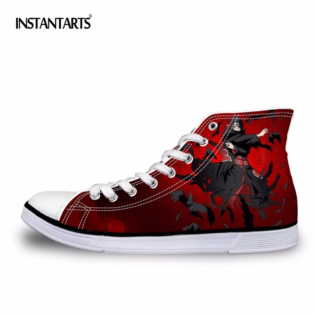 INSTANTARTS Mens High-Top Vulcanized Shoes Fashion Anime Naruto Cool Uchiha Itachi Printed Men Canvas Shoes Student Boy Sneakers