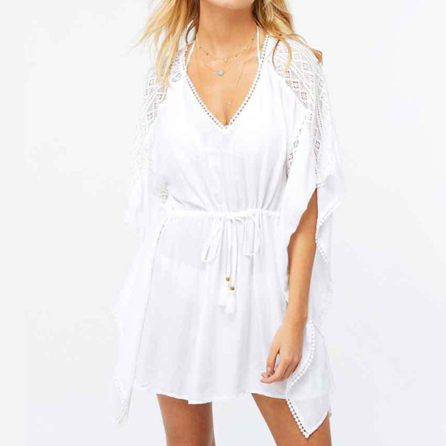 8ec37ccc08 White Lace Beach Tunic Summer Dresses Women Casual Vestidos Mini Robe Femme  dropshipping