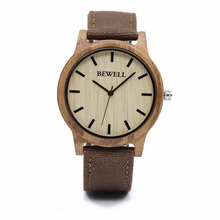 BEWELL Fashion Casual Mens Wood Watches with Fabric Band Water Resistant Wrist Watch with Box 134A