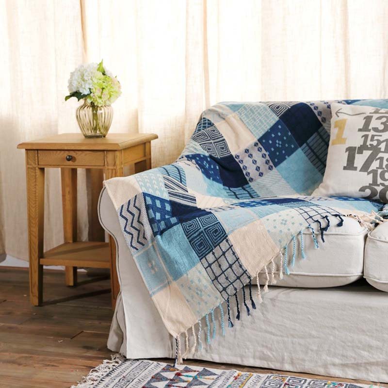 Us 26 88 36 Off Chenille Thread Throw Blanket For Sofa Couch Recliner With Decorative Tels Picnic Mat Tapestry Cover Cozy Rug In Blankets