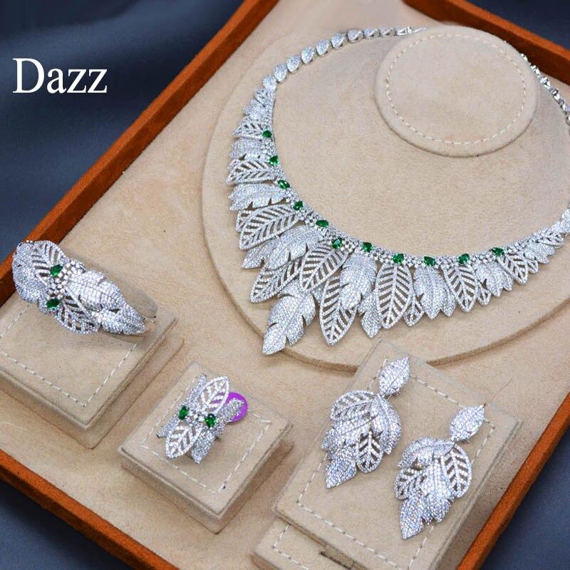 Dazz 4 PC Luxury Shiny African Zircon Women's Wedding Naija Bridal Green Crystal Necklace Earrings Ring Bangle Dubai Jewelry Set