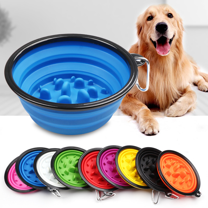 Pet Supplies Portable Puppy Dog Bowl Pet Collapsible Slow Feeding Bowl Feeding BPA Free Foldable Cup Dish For Dogs Cat Drop