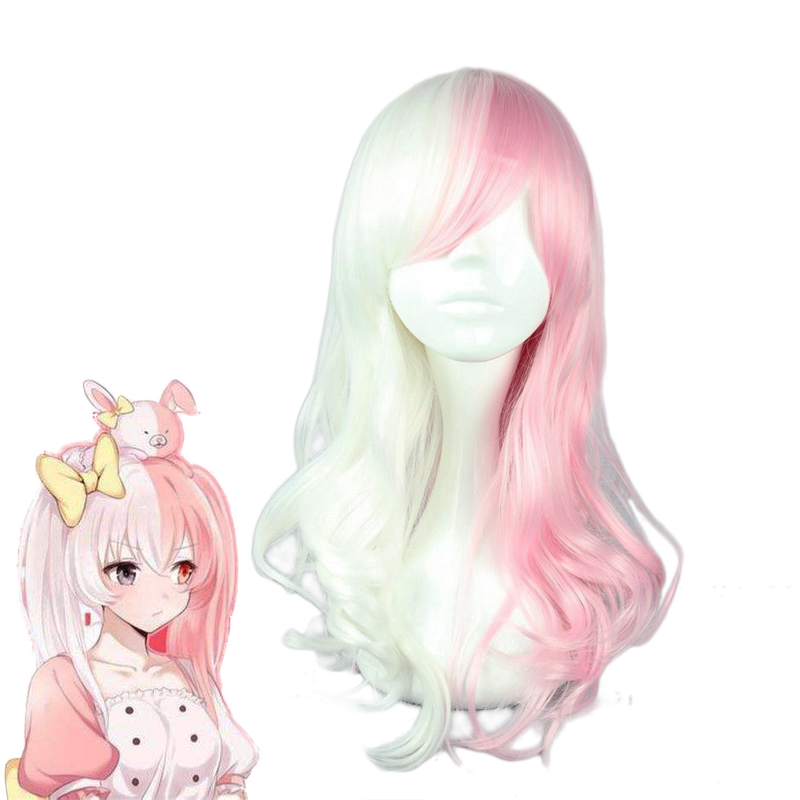 Anime Danganronpa Monomi Women Long Curly Wig Cosplay Costume Dangan Ronpa White Pink Heat Resistant Synthetic Hair Wigs