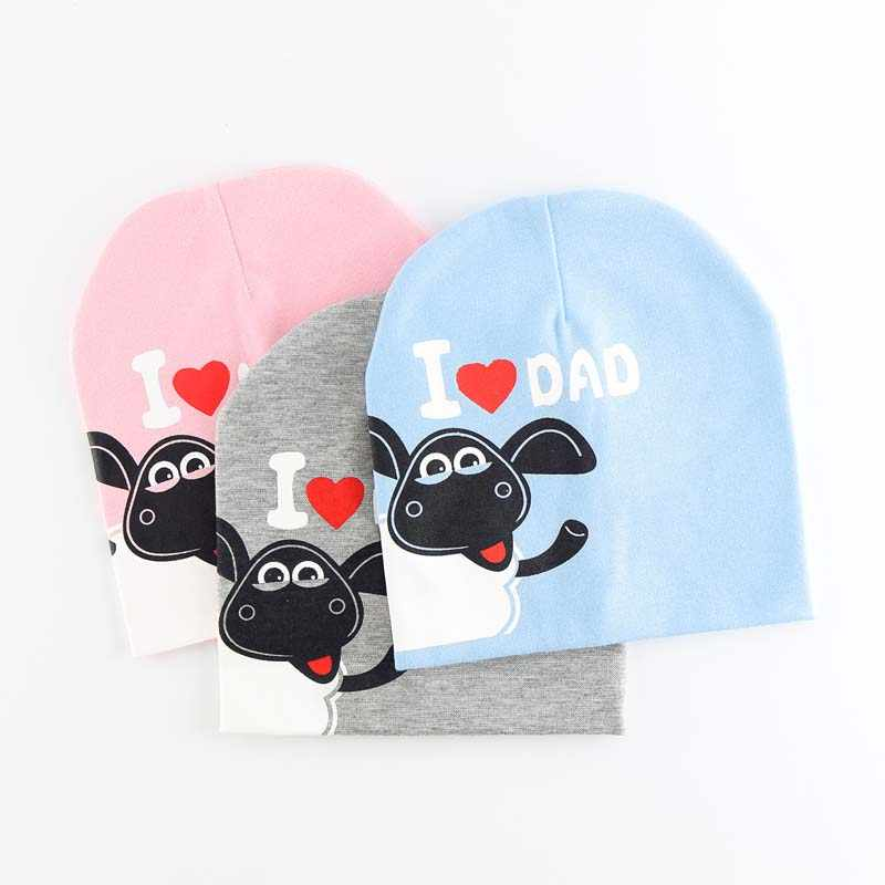 3b35fa928a4 Brand Baby Hat Knit Cotton Cartoon Love Mom Dad Print Baby Caps For Boys  Girls Spring