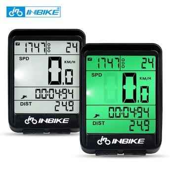 INBIKE Waterdichte Fiets Computer Draadloze En Bedrade MTB Bike Fietsen Kilometerteller Stopwatch Snelheidsmeter Horloge LED Digitale Rate