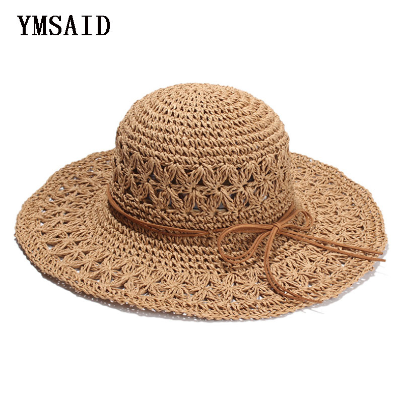 2018 Band New Women's Crochet Hollow Dome Summer Hats For Women Mesh Straw Hat Foldable Sun Hat Fashion Beach Hat Sombrero