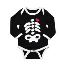 2018 Child Boys Clothes Halloween Toddler Child Child Boys Bone Love Print Cartoon Romper Jumpsuit Garments #FT05