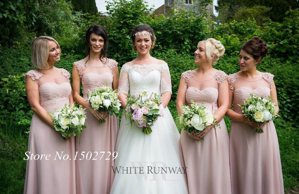 Popular Dusty Pink Long Sleeve Bridesmaid Dress-Buy Cheap Dusty ...