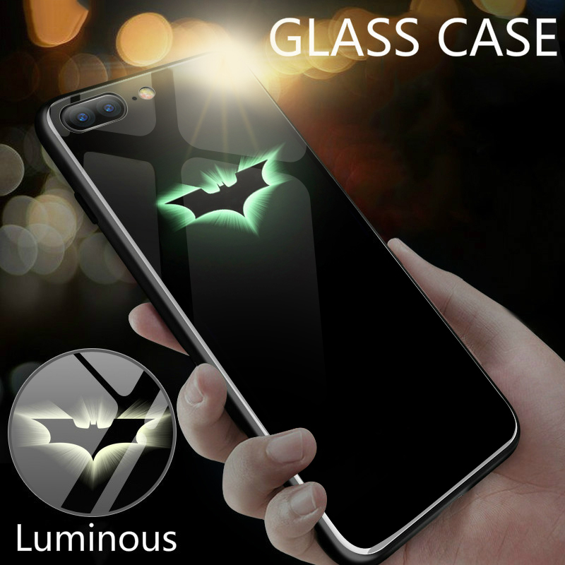 Batman Glowing Tempered Glass Case For iphone 8 7 6 6s Plus X Xr Xs Max Coque