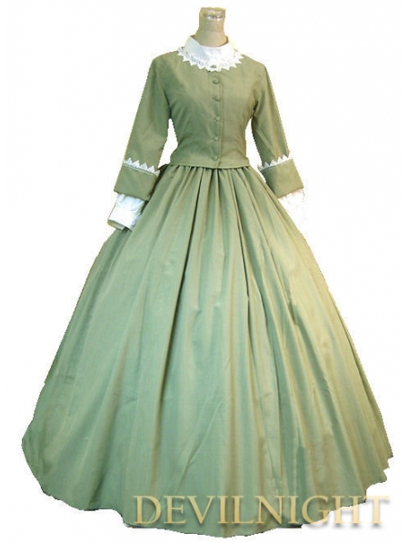 Green Classic Elegant Victorian Day Costume Dress Plus Size Victorian Dresses