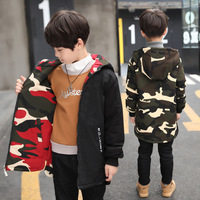 Thick Warm Casual Winter Baby Boys Parka Coat Kid Jacket Children Outwear Double sided Camouflage Overcoat Cotton padded Clothes