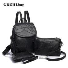 GDZHLBAG Fashion Vintage Leaf Stitching Shoulder Bag Backpack three sets Multifunction Chest Women Leather Backpacks Designers