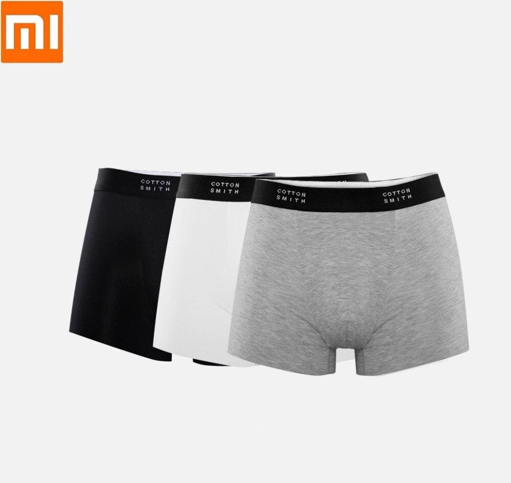 Xiaomi Men Boxer Briefs 3pcs High elasticity soft No trace Silky Male Four corners shorts COTTONSMITH