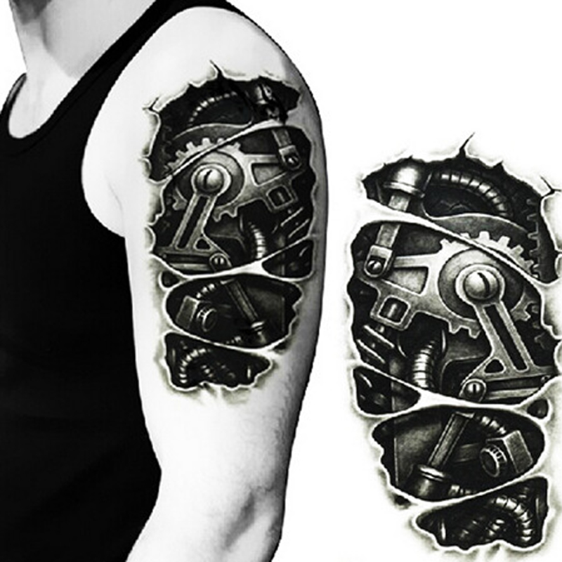 Us 091 8 Offbest Seller Temporary Tattoos 3d Black Robot Mechanical Arm Fake Transfer Tattoo Stickers Cool Men Spray Waterproof Designs In