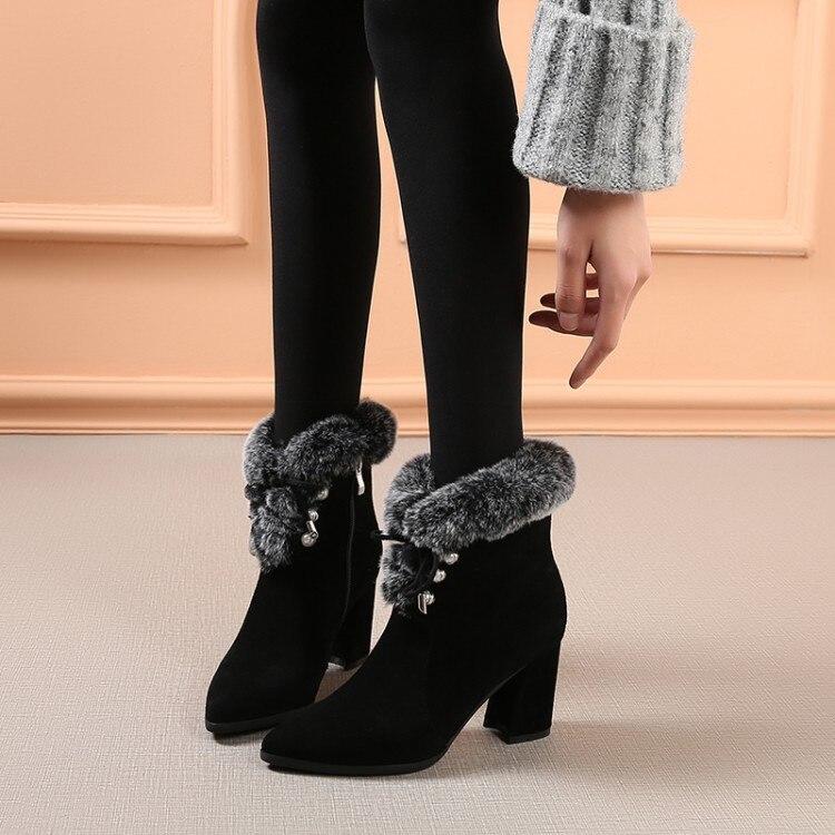 Las Interior Invierno De Tacón Altos {zorssar} Botas Los Cuero Nieve Gruesa Gamuza Mujeres Tacones Punta Felpa gris Zapatos Negro PqH17X