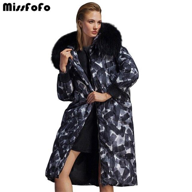 MissFoFo 2016 новая мода пуховик супер теплый корова геометрические узоры графический утолщение большой меховой капюшон женский