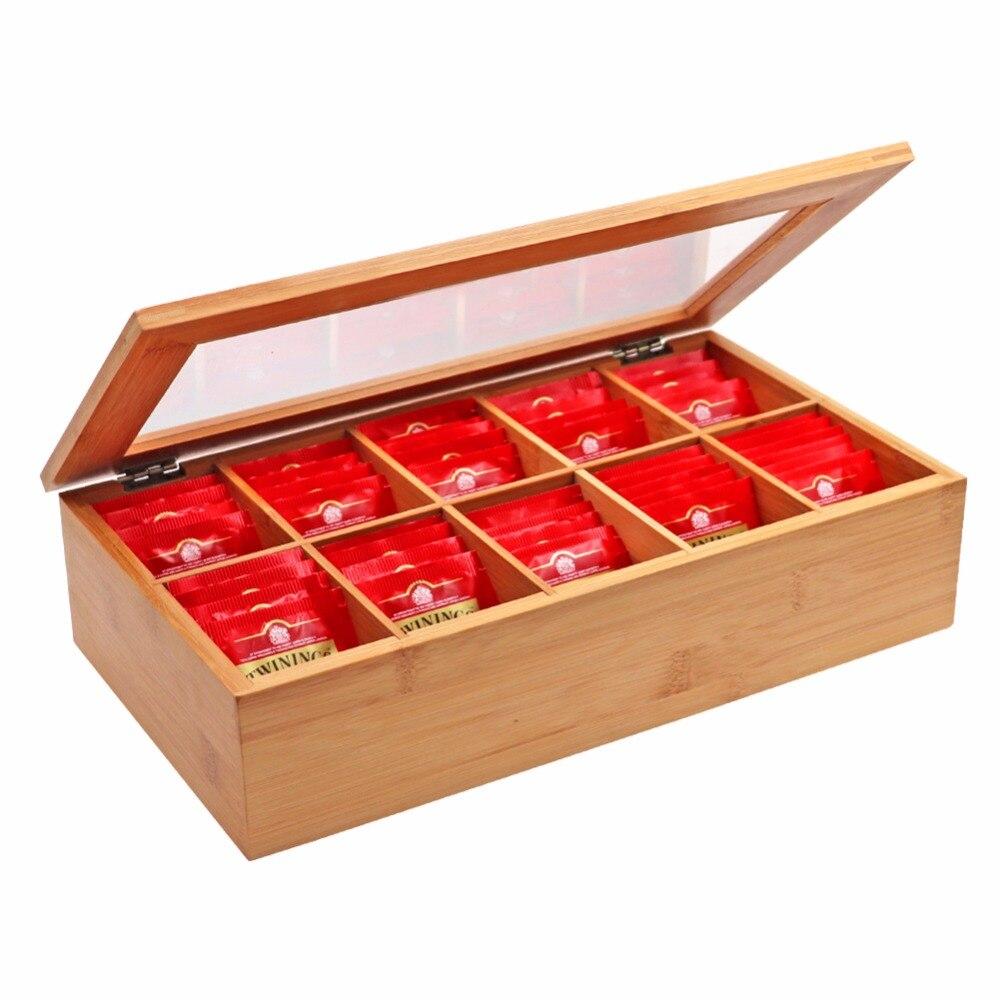 10 compartiments boîte de rangement en bois boîte à thé conteneur de rangement bijoux accessoires conteneur de rangement bambou coffre à thé coffret cadeau