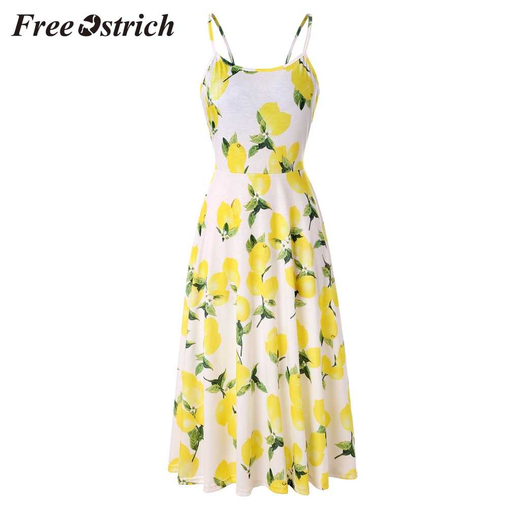 Free Ostrich 2019 Women's Sleeveless Adjustable Strappy Summer Floral Flared Swing Dress Lemon Print Summer Holiday Style Dress