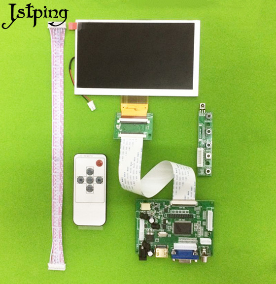 Jstping 6 Inch 800*480 HD LCD Display Screen Monitor TM060RDH01 Control Driver Board HDMI+VGA+2AV Kit For Raspberry Pi Diy Panel