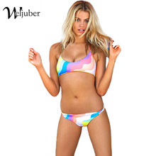 Weljuber 2017 Women New Swimwear Sexy Bikinis Candy Color Swimsuits Bathing Suit Woman Bikini Set Push Up Female Swimwear Top