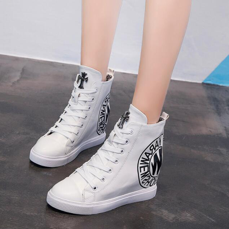 clearance sale choose official new arrival US $23.49 36% OFF|Women Wedges Causal Shoes Woman Breathable Platform  Leather Shoes Hidden Wedge Sneakers vulcanize shoes Zapatillas Mujer  v592-in ...