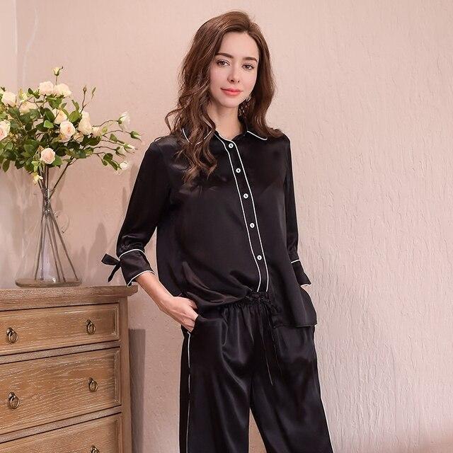 Genuine Silk Womens Pajamas 100% Silk Sleepwear Female High Quality Sexy Black Pyjama Pants Two Piece Sets T8148