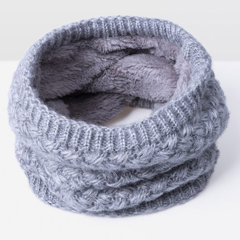Зимний шарф для женщин, мужчин, детей, утолщенный шерстяной воротник, шарфы для девочек, шейный шарф, хлопок, унисекс, вязаный шарф-кольцо - Цвет: F