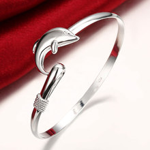 2018 New 925 Silver Women Fashion Jewelry Singlet Dolphin Bracelets&Bangle Wholesale Jewelry(China)