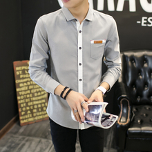 2017 New spring men s stylish men s casual long sleeved shirt large size Men Business