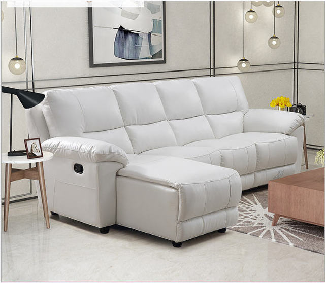 Whit Leather Living Room Sofa Set L Corner w/ Electric Recliners 3