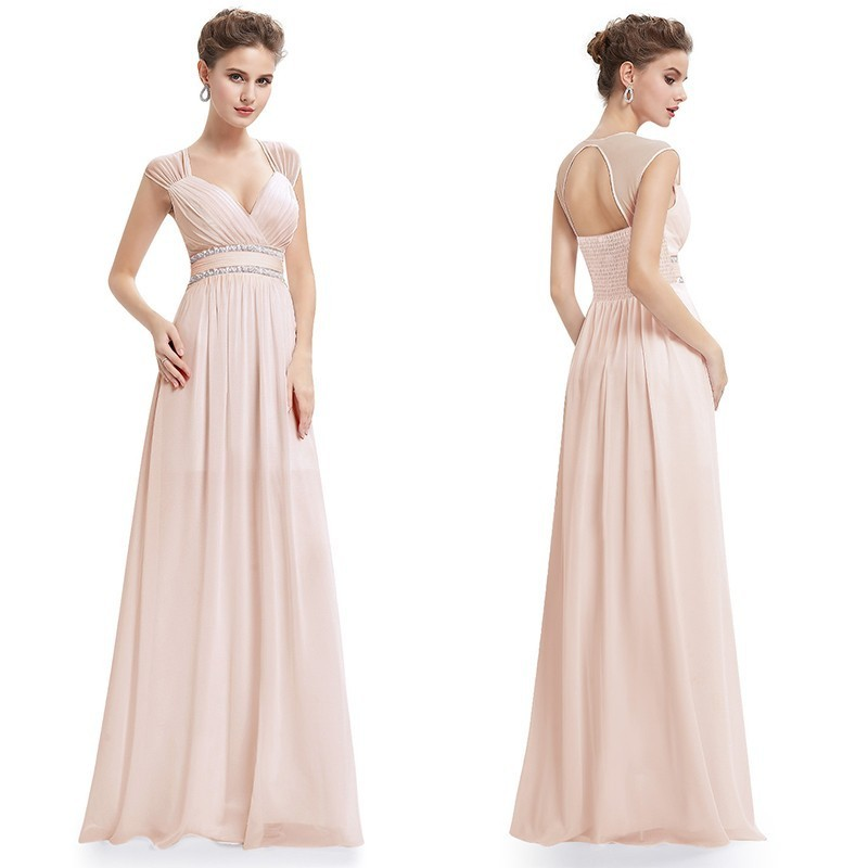 Image 3 - Plus Size Bridesmaid Dresses 2020 Elegant Cheap Chiffon Party Gowns Beading Empire Hollow Out Formal Party Dresses for WeddingBridesmaid Dresses   -