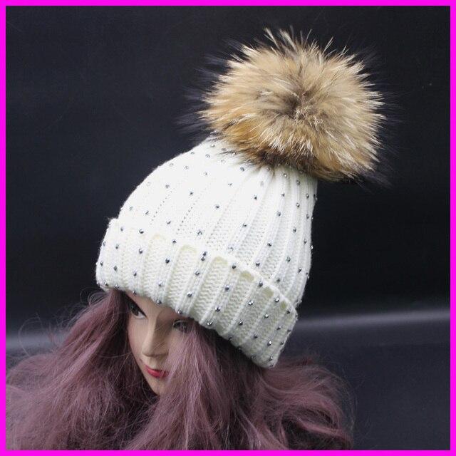 2016 New Fashion Ladies Winter Diamond Beanie With pom Cap Big 18cm Real Raccoon Fur Pompom Hats For Women