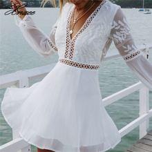 Women Casual  Sexy V-Neck Long Sleeve Lace Trim Short Mini Dress white dress