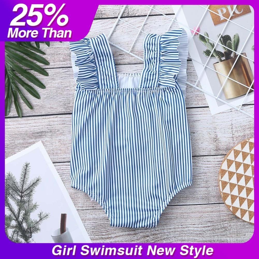 2cc5cb194fe7a swimsuit for girls Ruffles Bathing Suit Bikini Striped Swimwear girl  bathing suit One Pieces Swim Wear