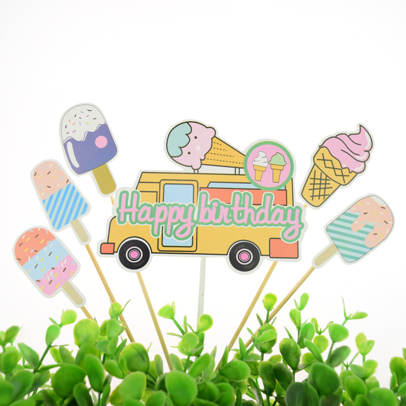 Happy Birthday Cake Toppers Flags Glitter Kids Gifts ice cream Cupcake Topper Wedding Anniversary Baby Shower Party Baking DIY in Cake Decorating Supplies from Home Garden